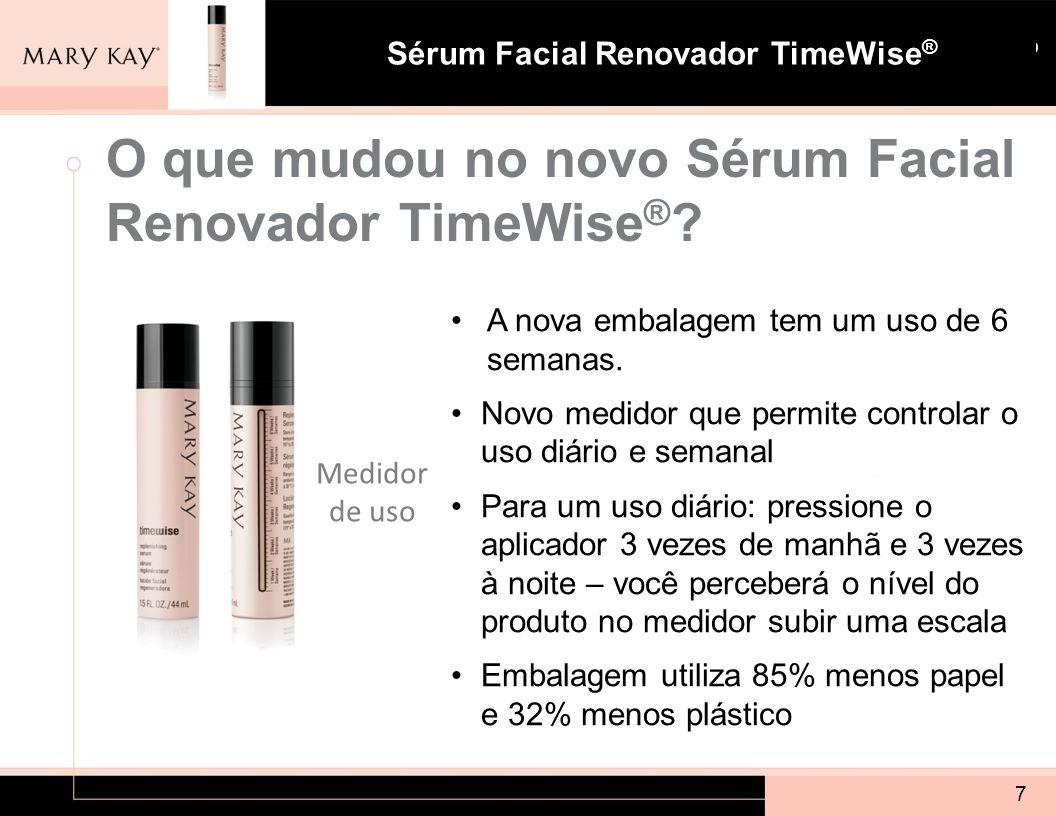 Sistema para Pele com Tendência à Acne Mary Kay ® Sérum Facial Renovador TimeWise ® 8 Quais são os ingredientes chaves?