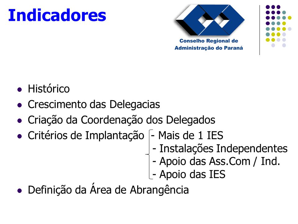 Histórico Crescimento das Delegacias Criação da Coordenação dos Delegados Critérios de Implantação - Mais de 1 IES - Instalações Independentes - Apoio