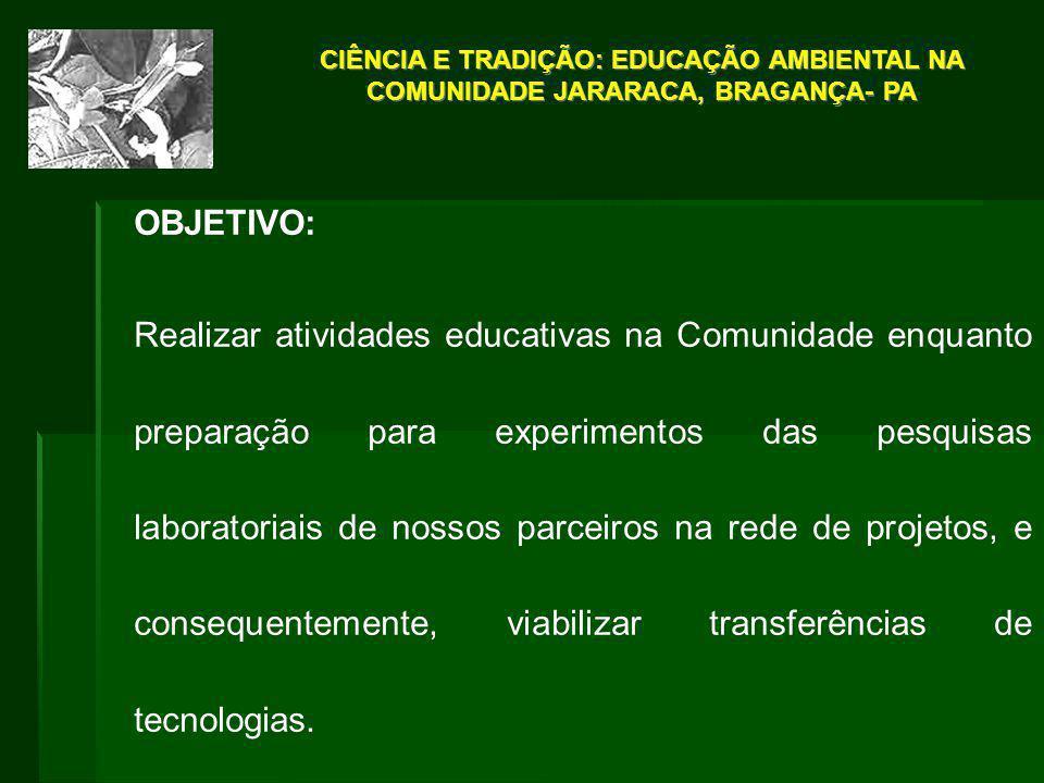 CIÊNCIA E TRADIÇÃO: EDUCAÇÃO AMBIENTAL NA COMUNIDADE JARARACA, BRAGANÇA- PA OBJETIVO: Realizar atividades educativas na Comunidade enquanto preparação