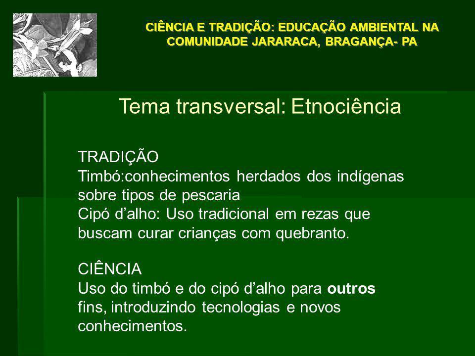 Tema transversal: Etnociência TRADIÇÃO Timbó:conhecimentos herdados dos indígenas sobre tipos de pescaria Cipó d'alho: Uso tradicional em rezas que bu