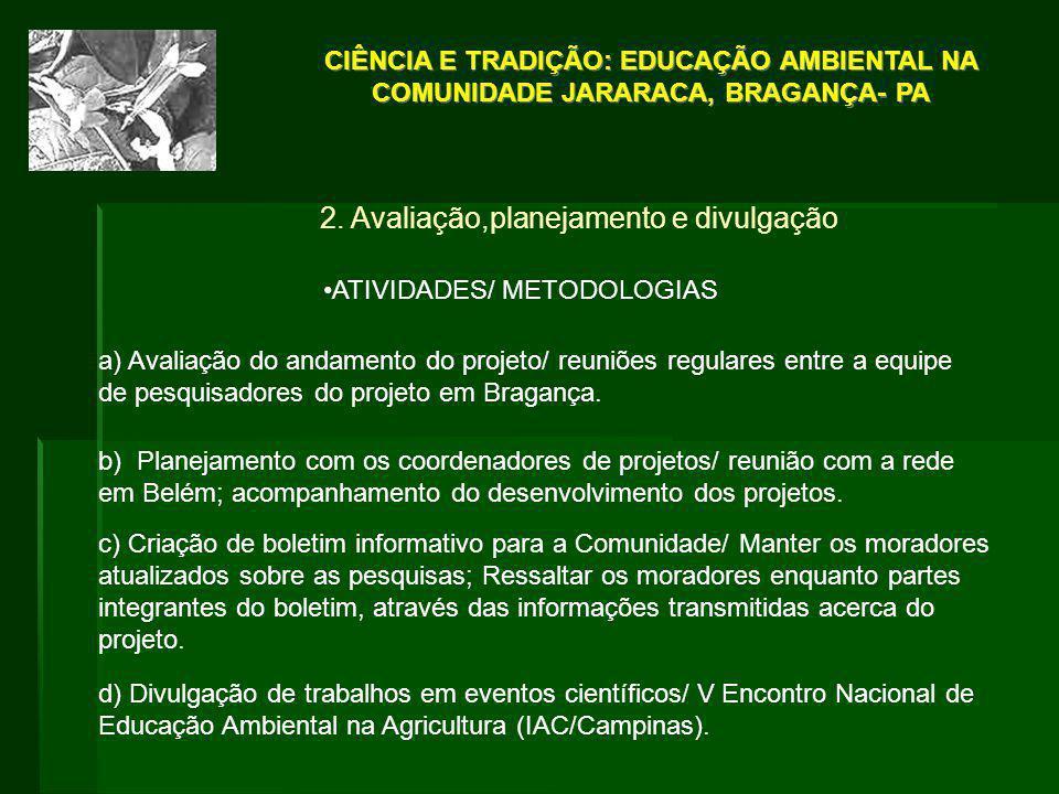 2. Avaliação,planejamento e divulgação ATIVIDADES/ METODOLOGIAS a) Avaliação do andamento do projeto/ reuniões regulares entre a equipe de pesquisador