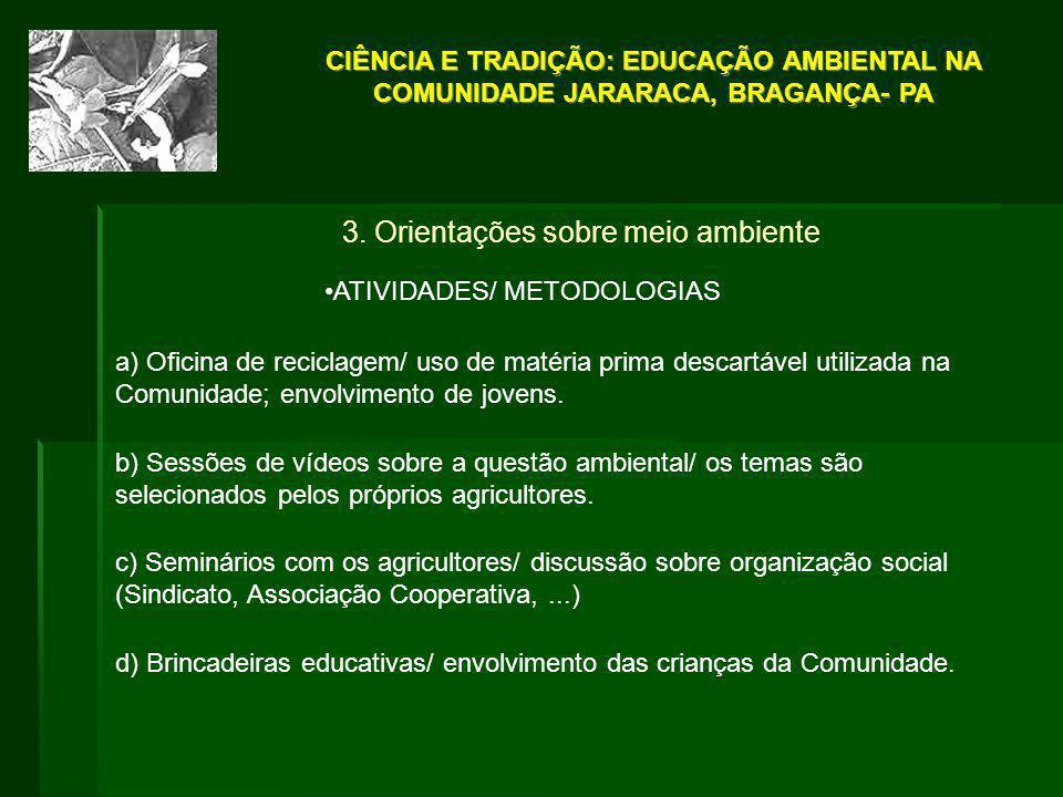 3. Orientações sobre meio ambiente ATIVIDADES/ METODOLOGIAS a) Oficina de reciclagem/ uso de matéria prima descartável utilizada na Comunidade; envolv