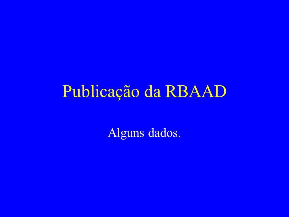 Publicação da RBAAD Alguns dados.