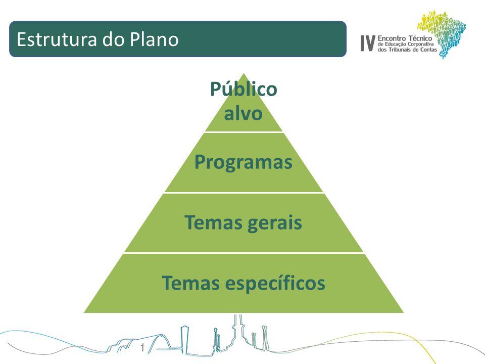 Estrutura do Plano Público alvo Programas Temas gerais Temas específicos