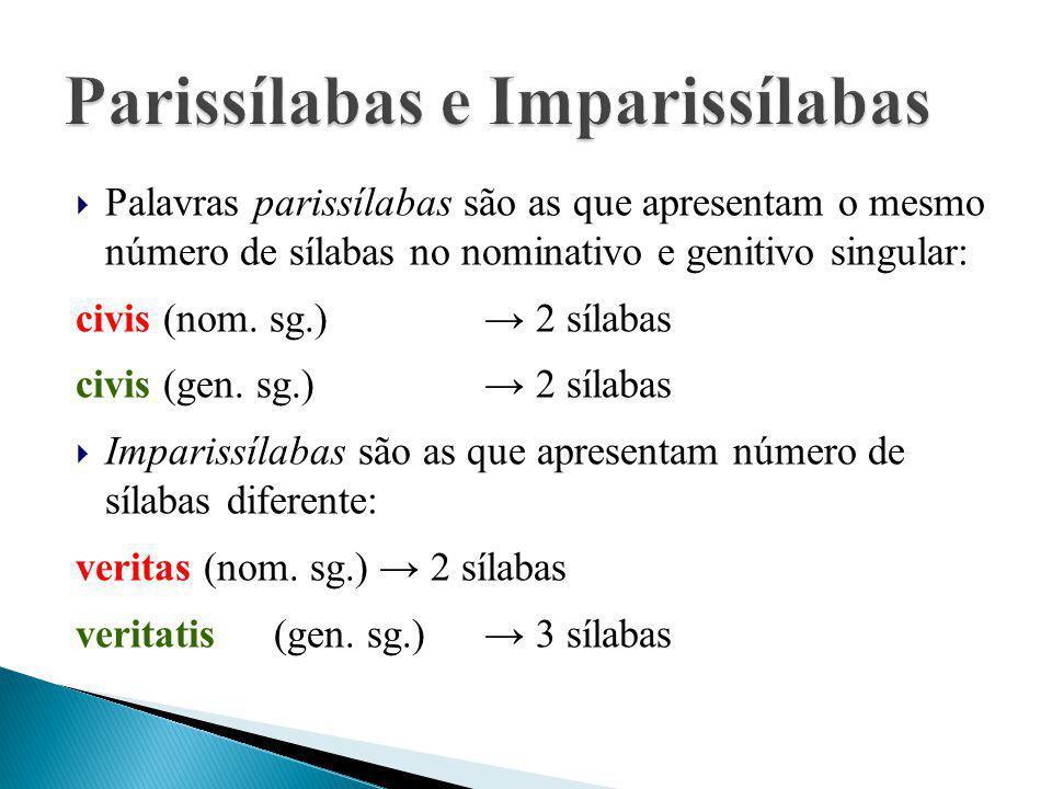  Palavras parissílabas são as que apresentam o mesmo número de sílabas no nominativo e genitivo singular: civis (nom. sg.)→ 2 sílabas civis (gen. sg.