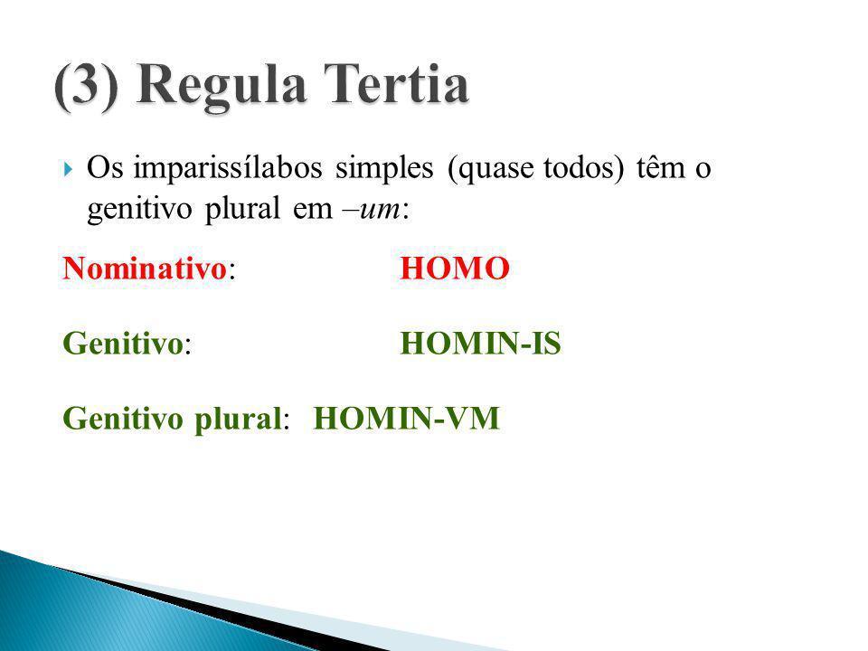  Os imparissílabos simples (quase todos) têm o genitivo plural em –um: Nominativo:HOMO Genitivo:HOMIN-IS Genitivo plural:HOMIN-VM