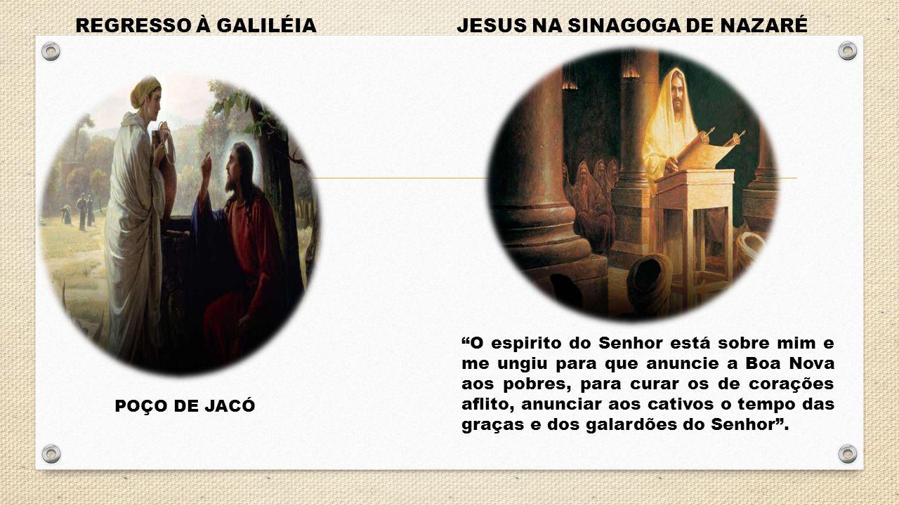 """REGRESSO À GALILÉIA POÇO DE JACÓ JESUS NA SINAGOGA DE NAZARÉ """"O espirito do Senhor está sobre mim e me ungiu para que anuncie a Boa Nova aos pobres, p"""