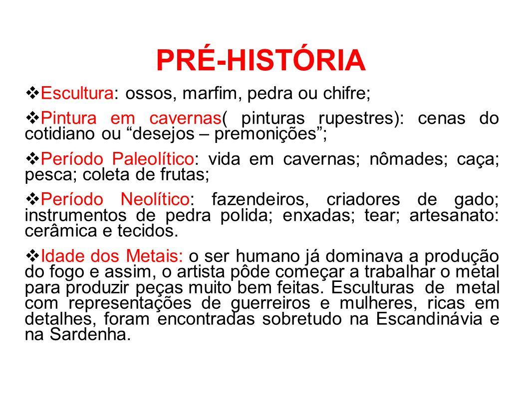 """PRÉ-HISTÓRIA  Escultura: ossos, marfim, pedra ou chifre;  Pintura em cavernas( pinturas rupestres): cenas do cotidiano ou """"desejos – premonições""""; """