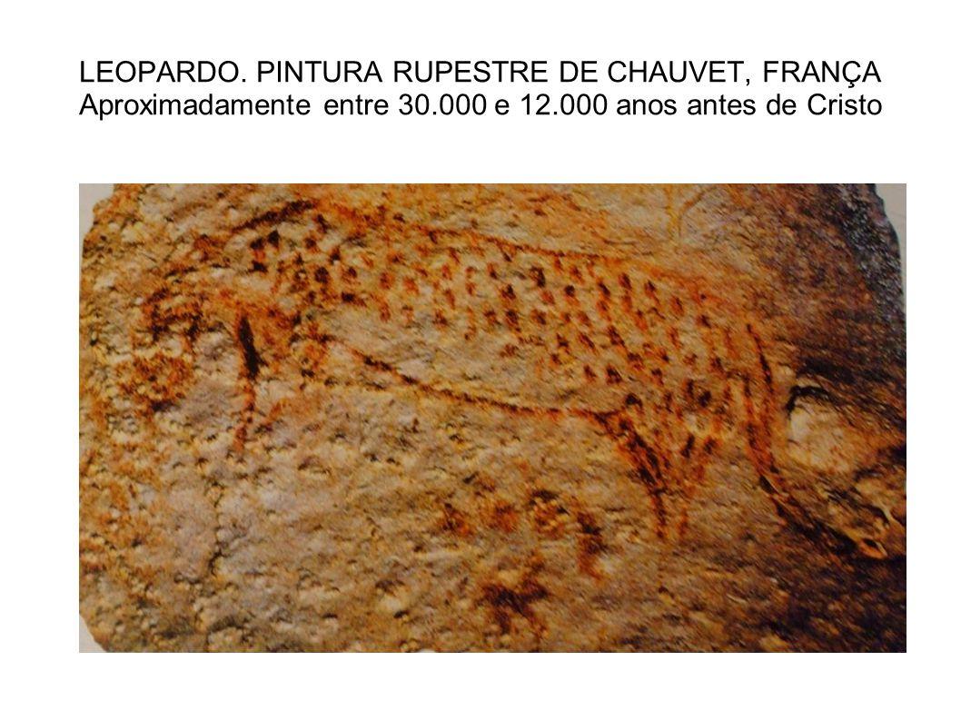LEOPARDO. PINTURA RUPESTRE DE CHAUVET, FRANÇA Aproximadamente entre 30.000 e 12.000 anos antes de Cristo
