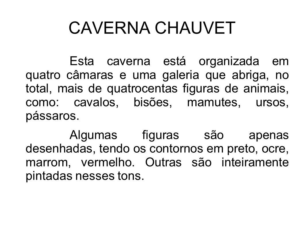 CAVERNA CHAUVET Esta caverna está organizada em quatro câmaras e uma galeria que abriga, no total, mais de quatrocentas figuras de animais, como: cava