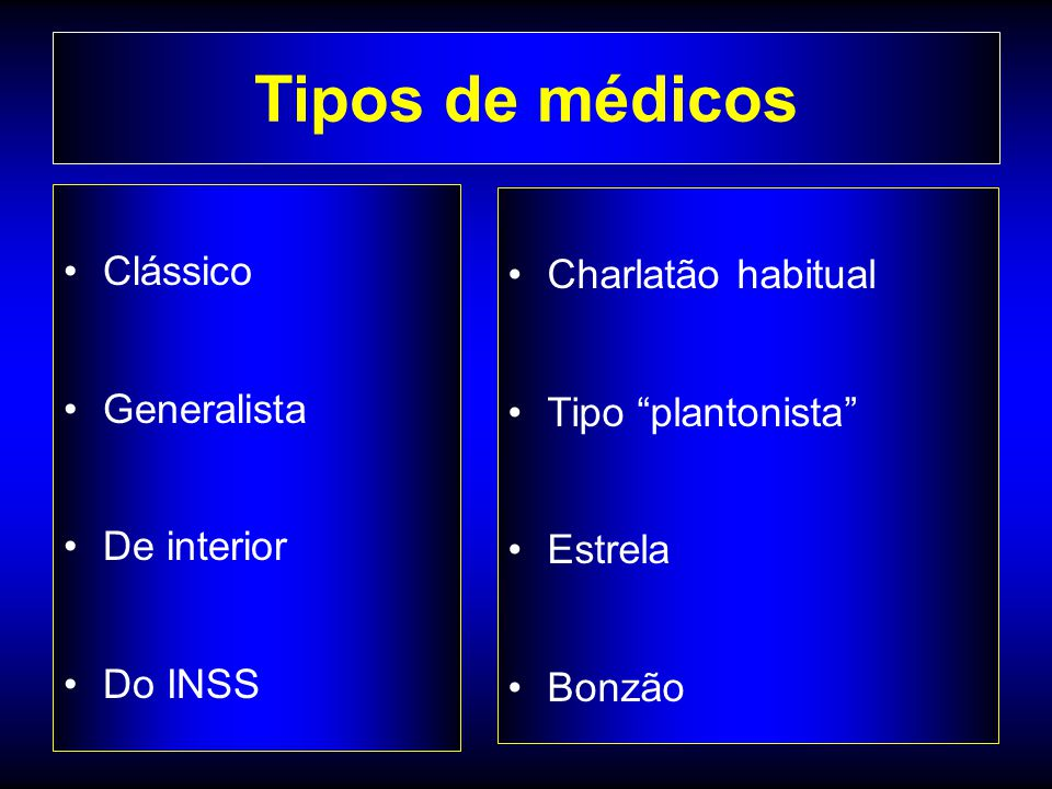 """Tipos de médicos Clássico Generalista De interior Do INSS Charlatão habitual Tipo """"plantonista"""" Estrela Bonzão"""