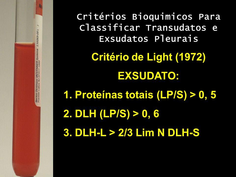 Critérios Bioquimicos Para Classificar Transudatos e Exsudatos Pleurais Critério de Light (1972) EXSUDATO: 1. Proteínas totais (LP/S) > 0, 5 2. DLH (L