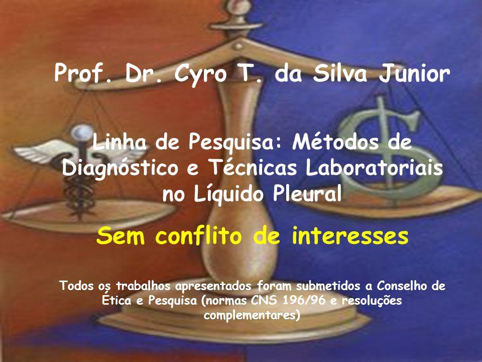Prof. Dr. Cyro T. da Silva Junior Linha de Pesquisa: Métodos de Diagnóstico e Técnicas Laboratoriais no Líquido Pleural Sem conflito de interesses Tod