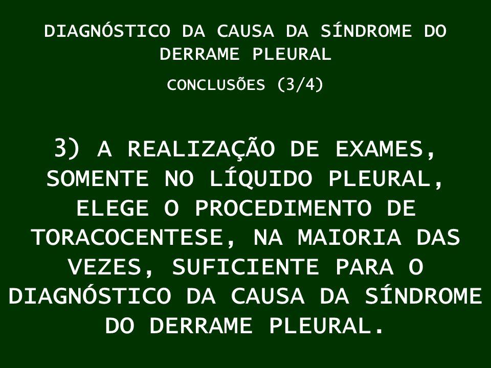 DIAGNÓSTICO DA CAUSA DA SÍNDROME DO DERRAME PLEURAL CONCLUSÕES (3/4) 3) A REALIZAÇÃO DE EXAMES, SOMENTE NO LÍQUIDO PLEURAL, ELEGE O PROCEDIMENTO DE TO