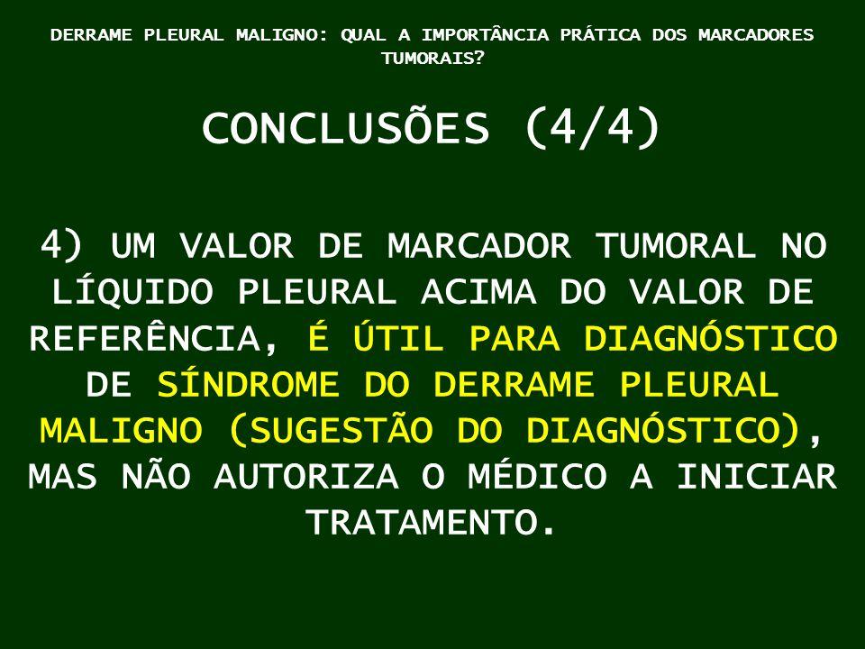 DERRAME PLEURAL MALIGNO: QUAL A IMPORTÂNCIA PRÁTICA DOS MARCADORES TUMORAIS? CONCLUSÕES (4/4) 4) UM VALOR DE MARCADOR TUMORAL NO LÍQUIDO PLEURAL ACIMA