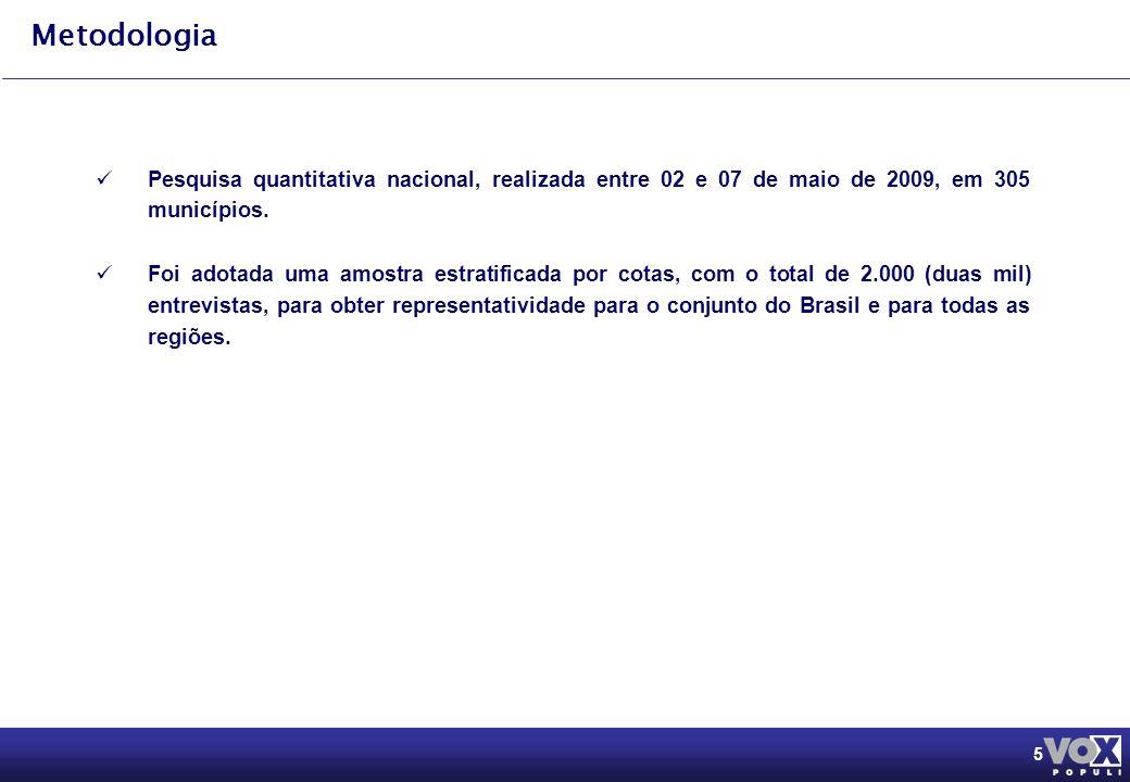 5 Metodologia Pesquisa quantitativa nacional, realizada entre 02 e 07 de maio de 2009, em 305 municípios.