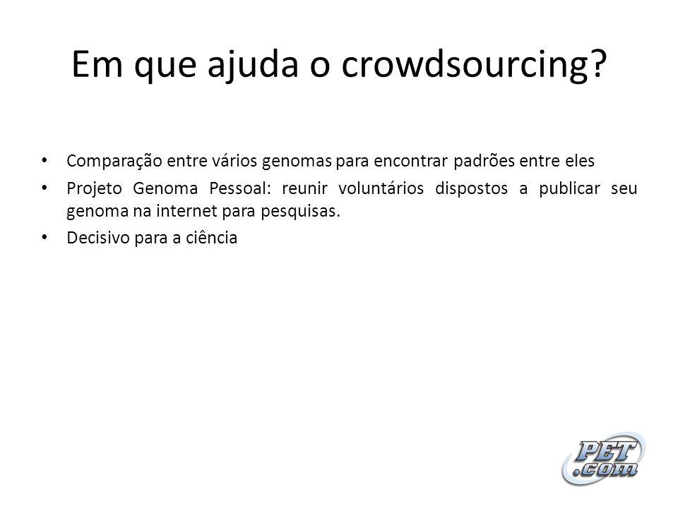 Em que ajuda o crowdsourcing? Comparação entre vários genomas para encontrar padrões entre eles Projeto Genoma Pessoal: reunir voluntários dispostos a