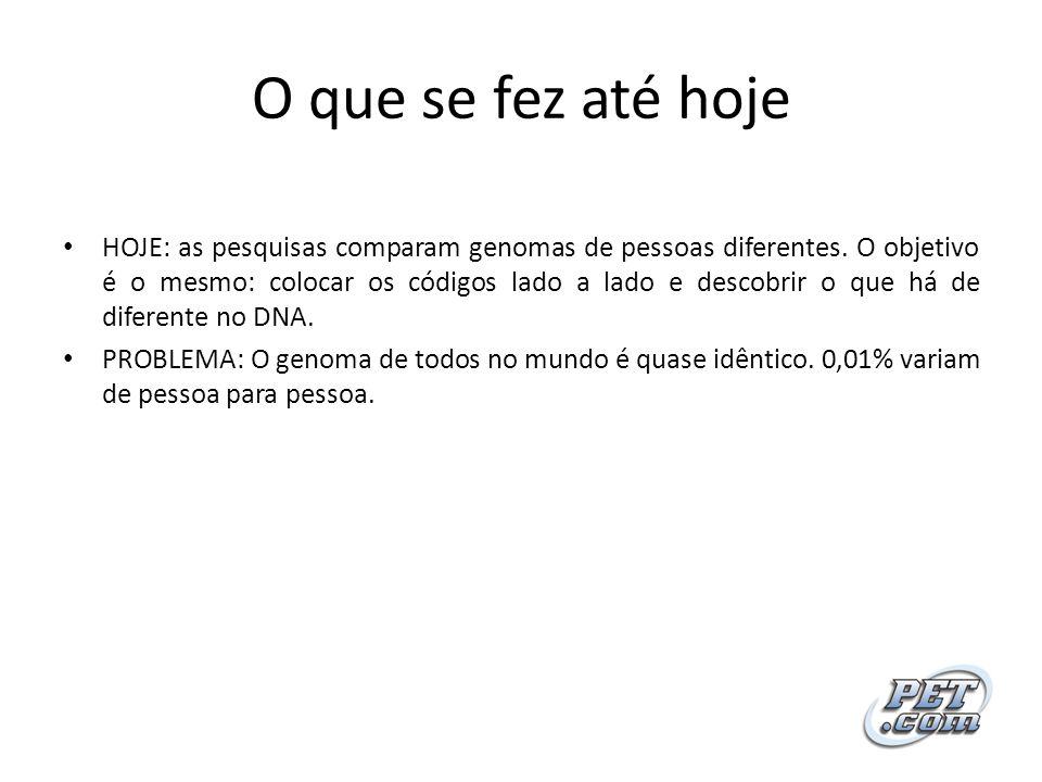 O que se fez até hoje HOJE: as pesquisas comparam genomas de pessoas diferentes. O objetivo é o mesmo: colocar os códigos lado a lado e descobrir o qu