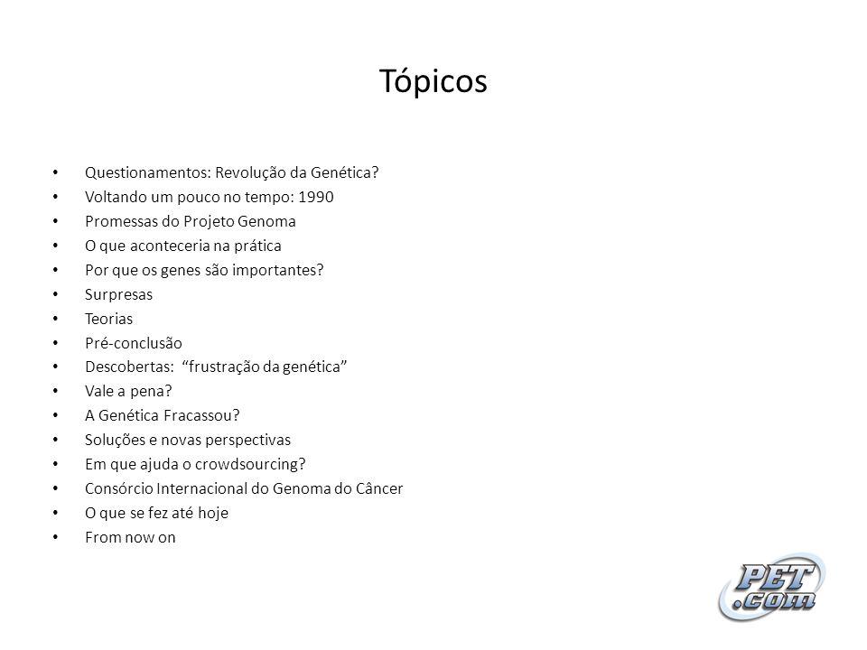 Tópicos Questionamentos: Revolução da Genética? Voltando um pouco no tempo: 1990 Promessas do Projeto Genoma O que aconteceria na prática Por que os g