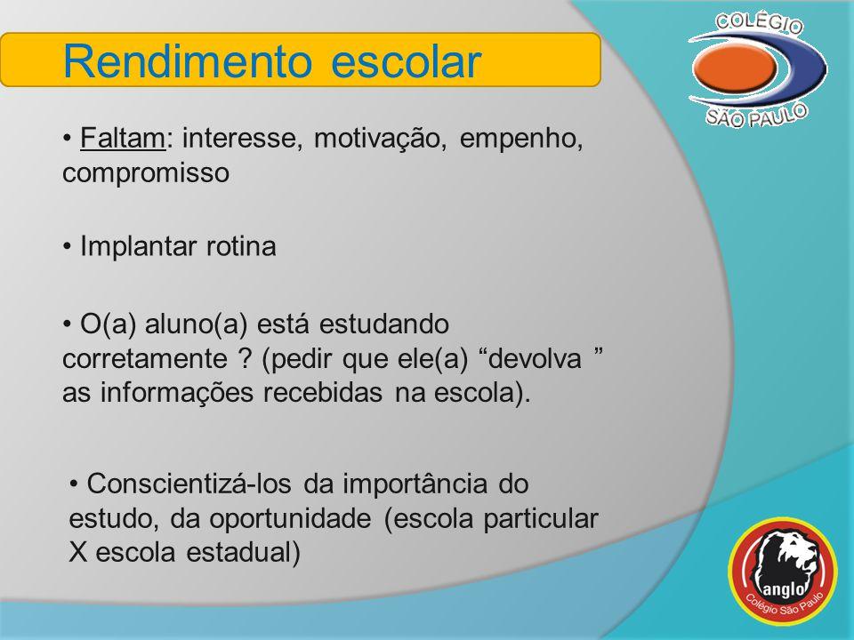 Rendimento escolar Faltam: interesse, motivação, empenho, compromisso Conscientizá-los da importância do estudo, da oportunidade (escola particular X
