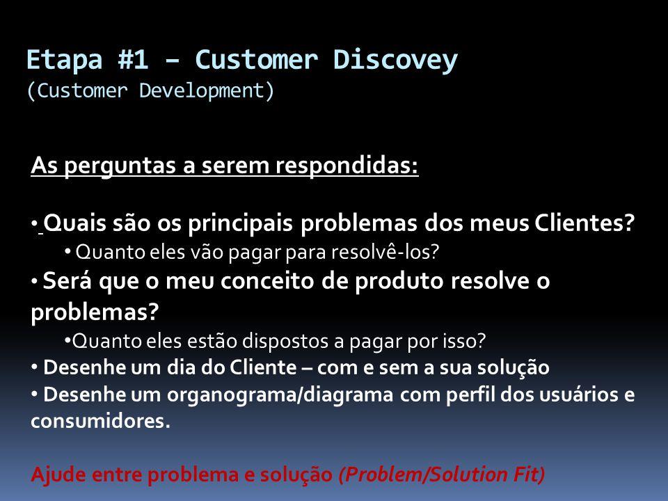 Etapa #1 – Customer Discovey (Customer Development) As perguntas a serem respondidas: Quais são os principais problemas dos meus Clientes? Quanto eles