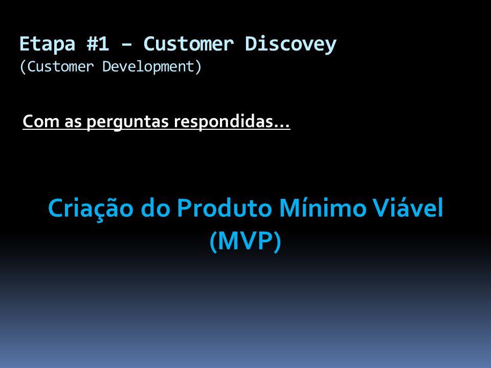 Com as perguntas respondidas... Criação do Produto Mínimo Viável (MVP) Etapa #1 – Customer Discovey (Customer Development)