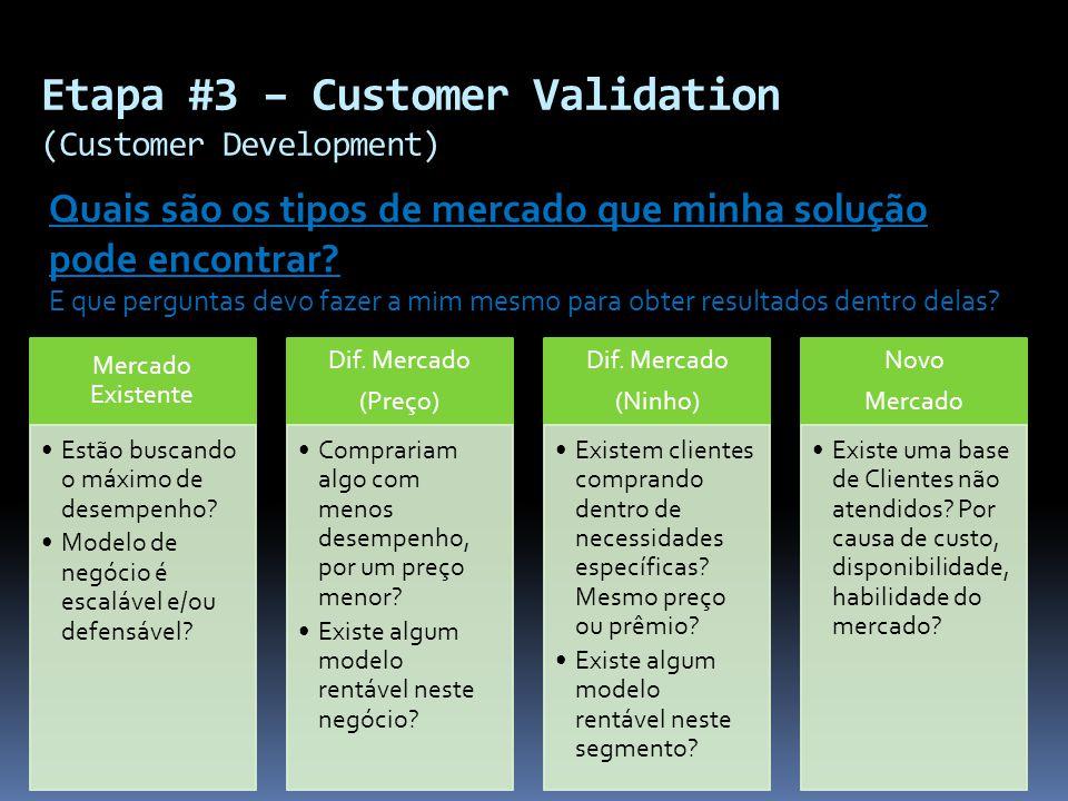 Etapa #3 – Customer Validation (Customer Development) Quais são os tipos de mercado que minha solução pode encontrar? E que perguntas devo fazer a mim