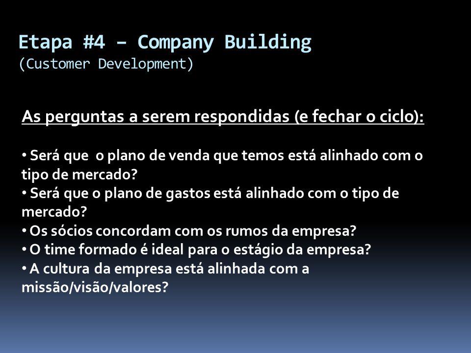 Etapa #4 – Company Building (Customer Development) As perguntas a serem respondidas (e fechar o ciclo): Será que o plano de venda que temos está alinh