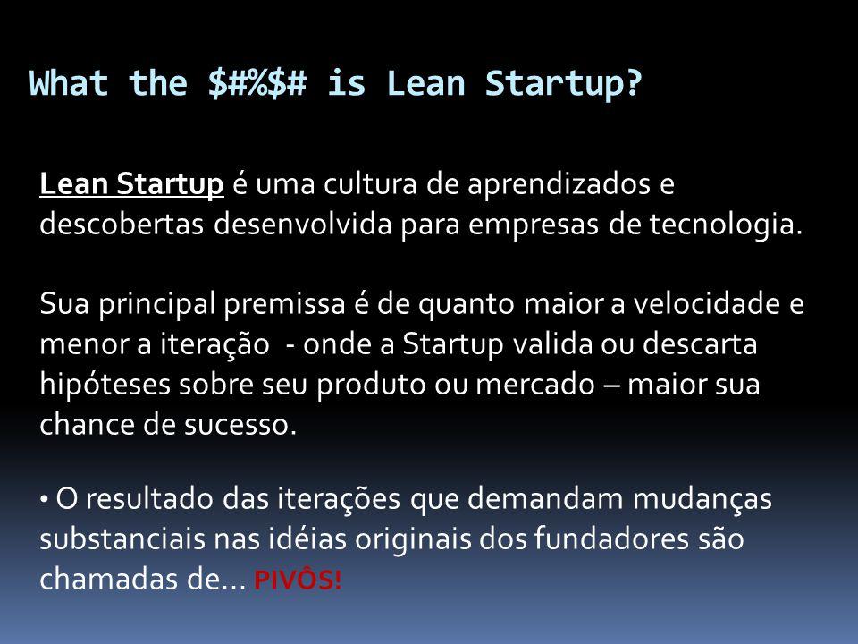What the $#%$# is Lean Startup? Lean Startup é uma cultura de aprendizados e descobertas desenvolvida para empresas de tecnologia. Sua principal premi