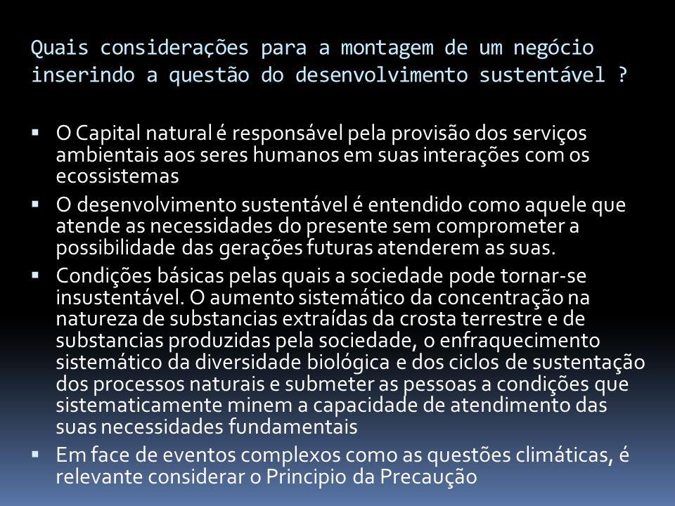 Quais considerações para a montagem de um negócio inserindo a questão do desenvolvimento sustentável ?  O Capital natural é responsável pela provisão