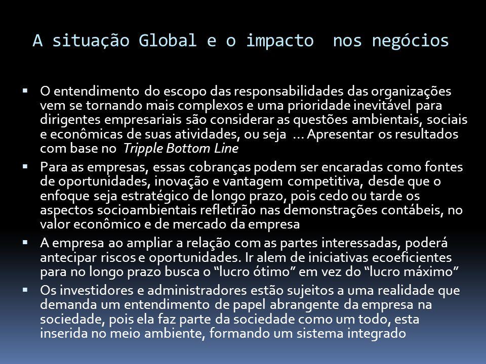 A situação Global e o impacto nos negócios  O entendimento do escopo das responsabilidades das organizações vem se tornando mais complexos e uma prio