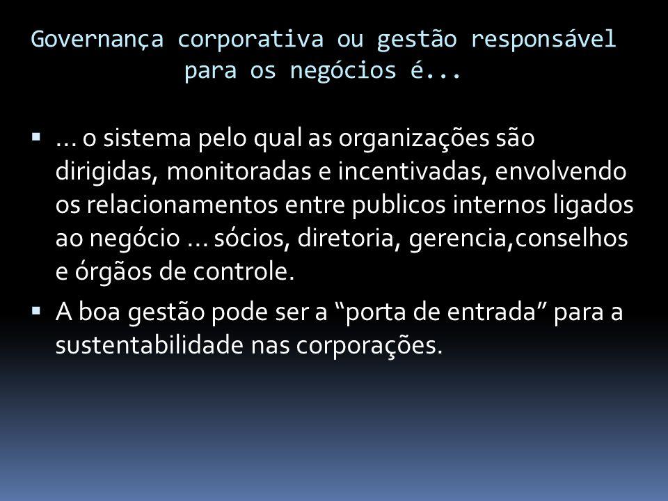 Governança corporativa ou gestão responsável para os negócios é... ... o sistema pelo qual as organizações são dirigidas, monitoradas e incentivadas,