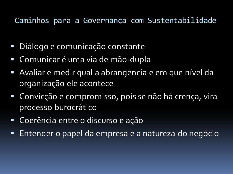 Caminhos para a Governança com Sustentabilidade  Diálogo e comunicação constante  Comunicar é uma via de mão-dupla  Avaliar e medir qual a abrangên