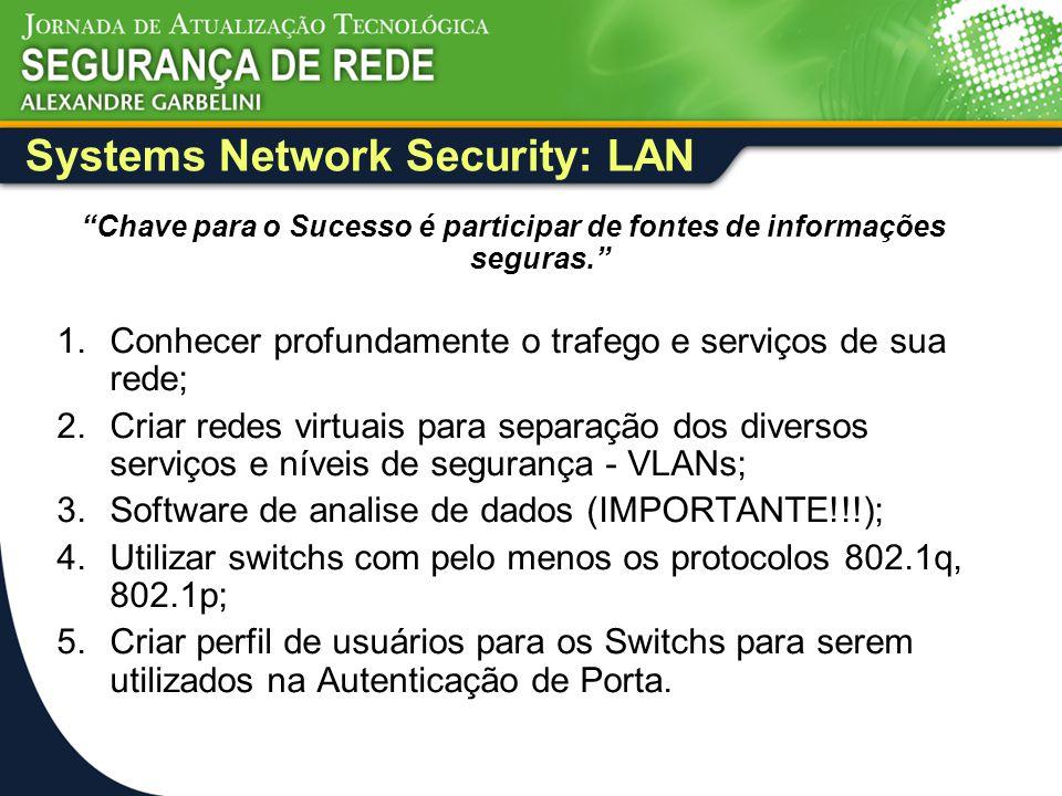 """Systems Network Security: LAN """"Chave para o Sucesso é participar de fontes de informações seguras."""" 1.Conhecer profundamente o trafego e serviços de s"""