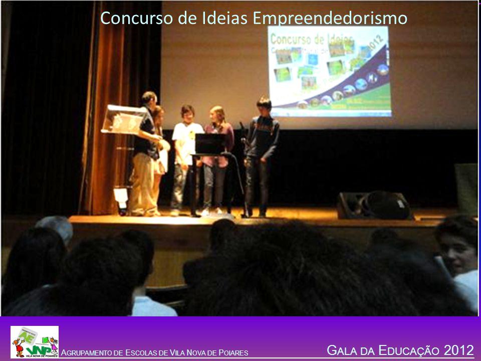 G ALA DA E DUCAÇÃO 2012 A GRUPAMENTO DE E SCOLAS DE V ILA N OVA DE P OIARES Concurso de Ideias Empreendedorismo