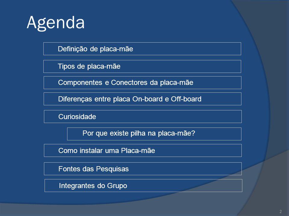 2 Agenda Tipos de placa-mãe Diferenças entre placa On-board e Off-board Componentes e Conectores da placa-mãe Definição de placa-mãe Curiosidade Como