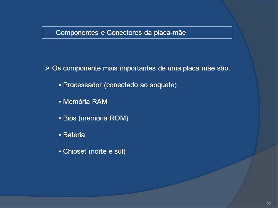 22 Componentes e Conectores da placa-mãe  Os componente mais importantes de uma placa mãe são: Processador (conectado ao soquete) Memória RAM Bios (m