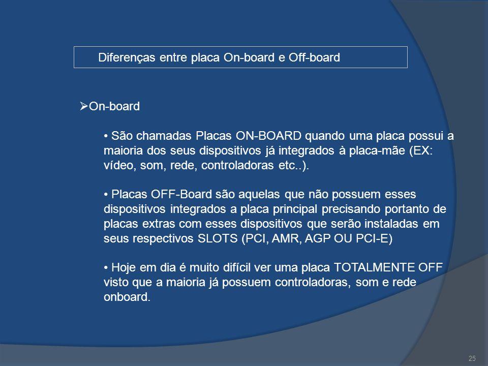 25 Diferenças entre placa On-board e Off-board  On-board São chamadas Placas ON-BOARD quando uma placa possui a maioria dos seus dispositivos já inte