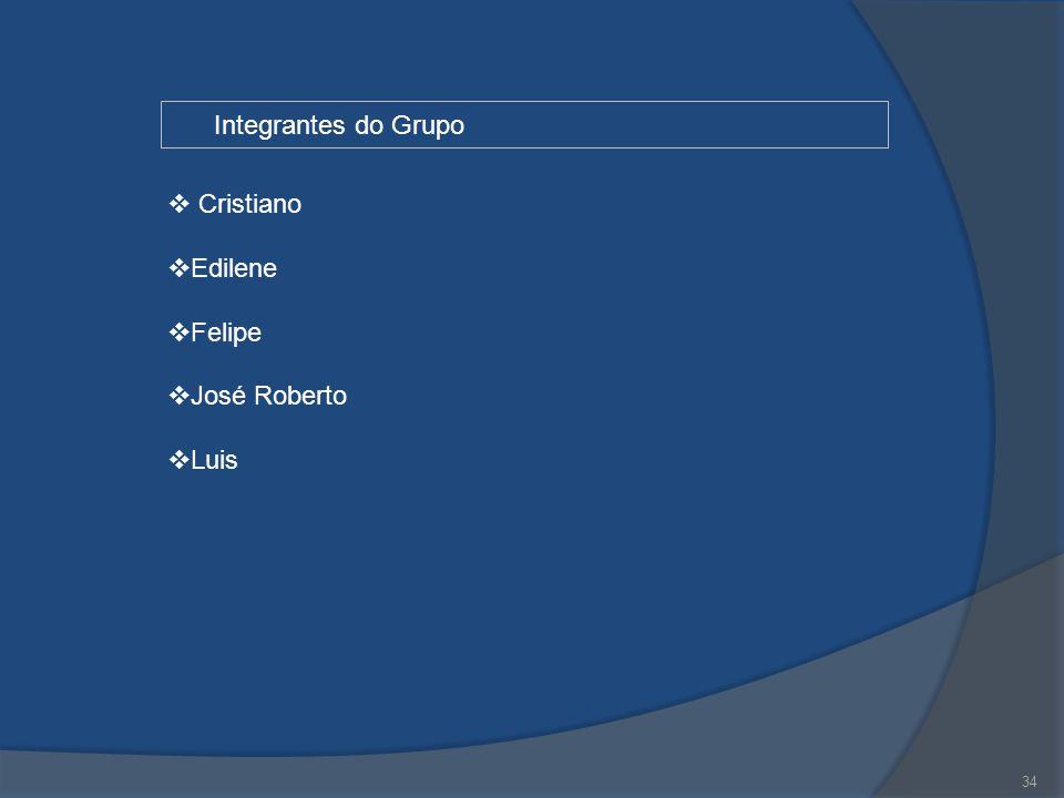 34 Integrantes do Grupo  Cristiano  Edilene  Felipe  José Roberto  Luis