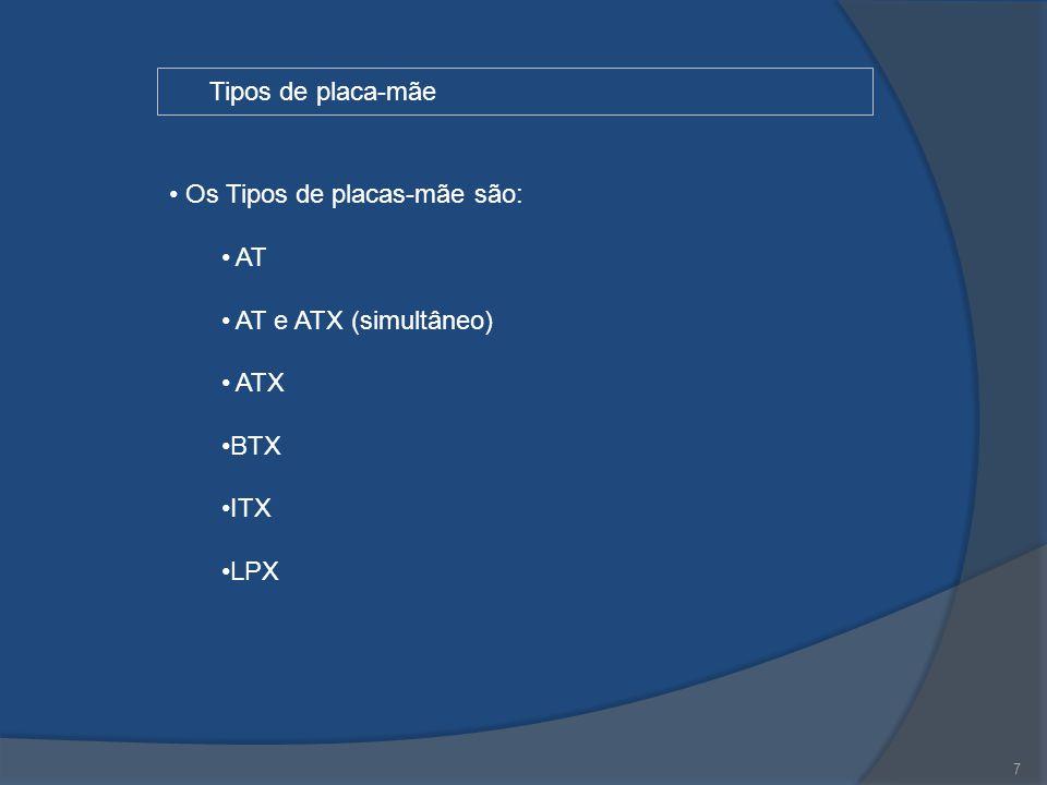 7 Tipos de placa-mãe Os Tipos de placas-mãe são: AT AT e ATX (simultâneo) ATX BTX ITX LPX