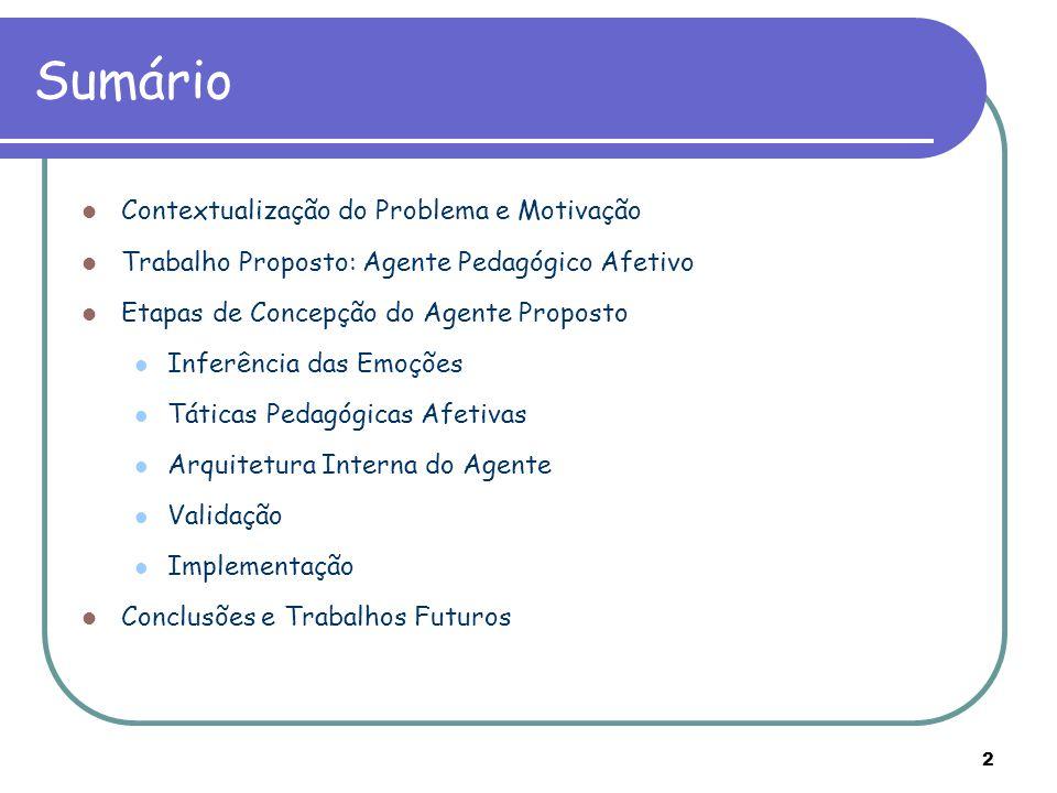 2 Sumário Contextualização do Problema e Motivação Trabalho Proposto: Agente Pedagógico Afetivo Etapas de Concepção do Agente Proposto Inferência das