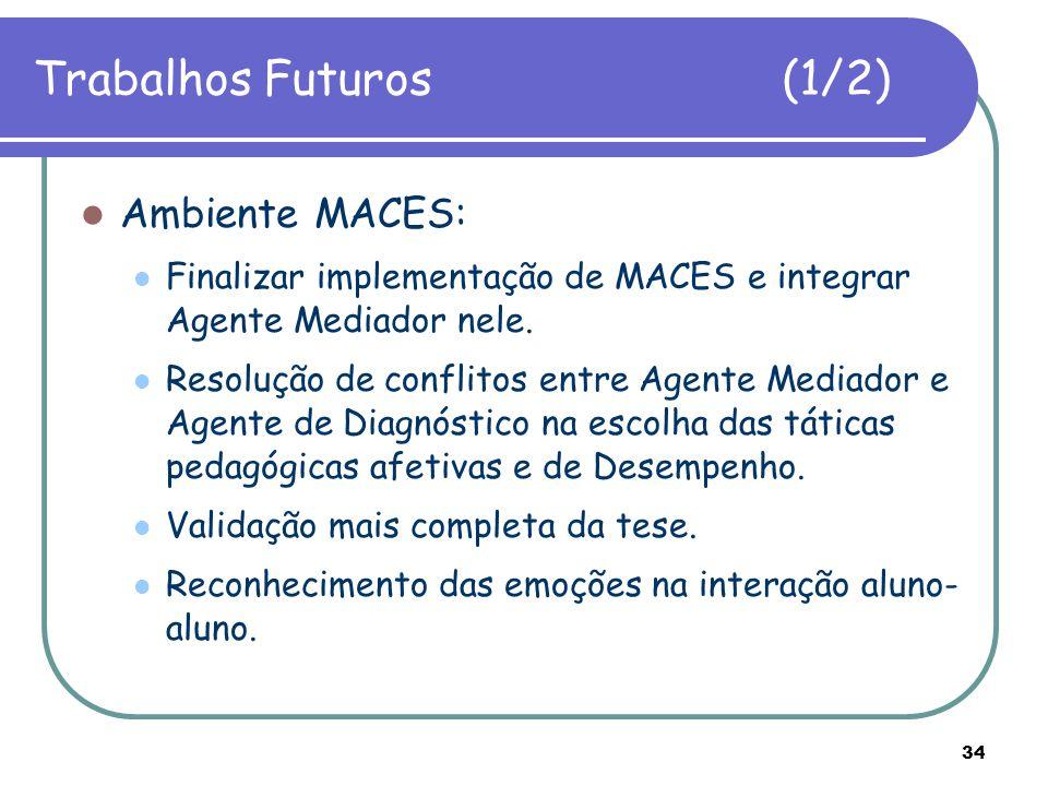 34 Trabalhos Futuros (1/2) Ambiente MACES: Finalizar implementação de MACES e integrar Agente Mediador nele. Resolução de conflitos entre Agente Media
