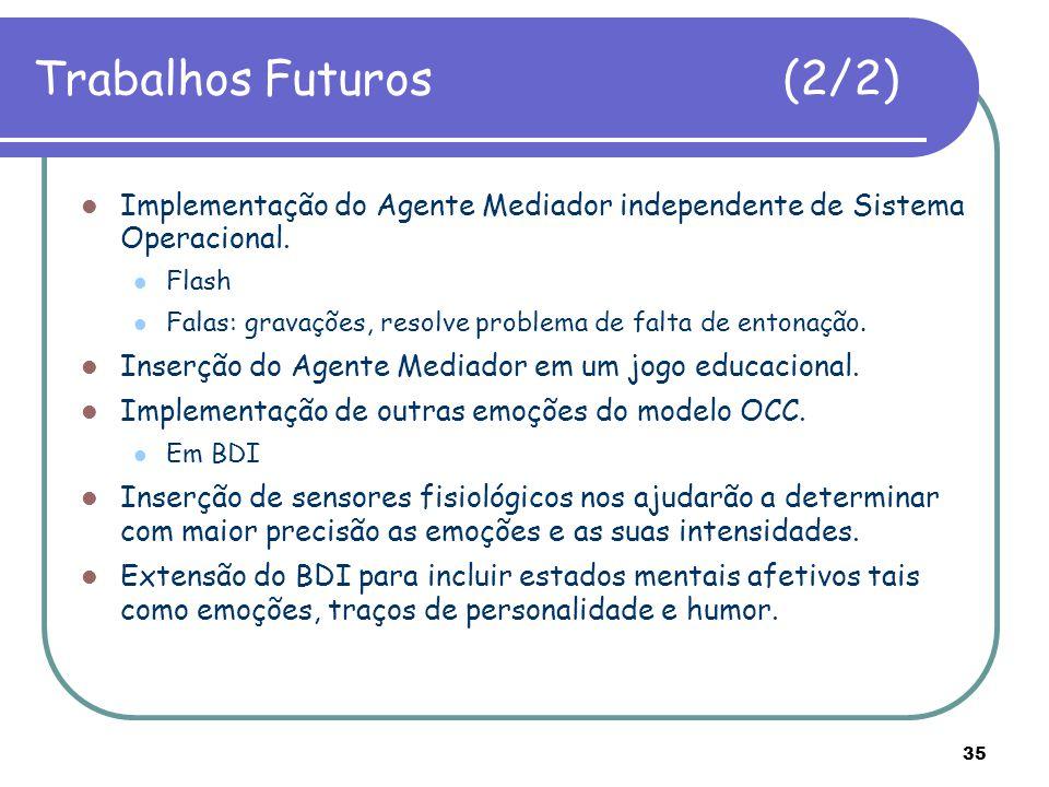 35 Trabalhos Futuros (2/2) Implementação do Agente Mediador independente de Sistema Operacional. Flash Falas: gravações, resolve problema de falta de