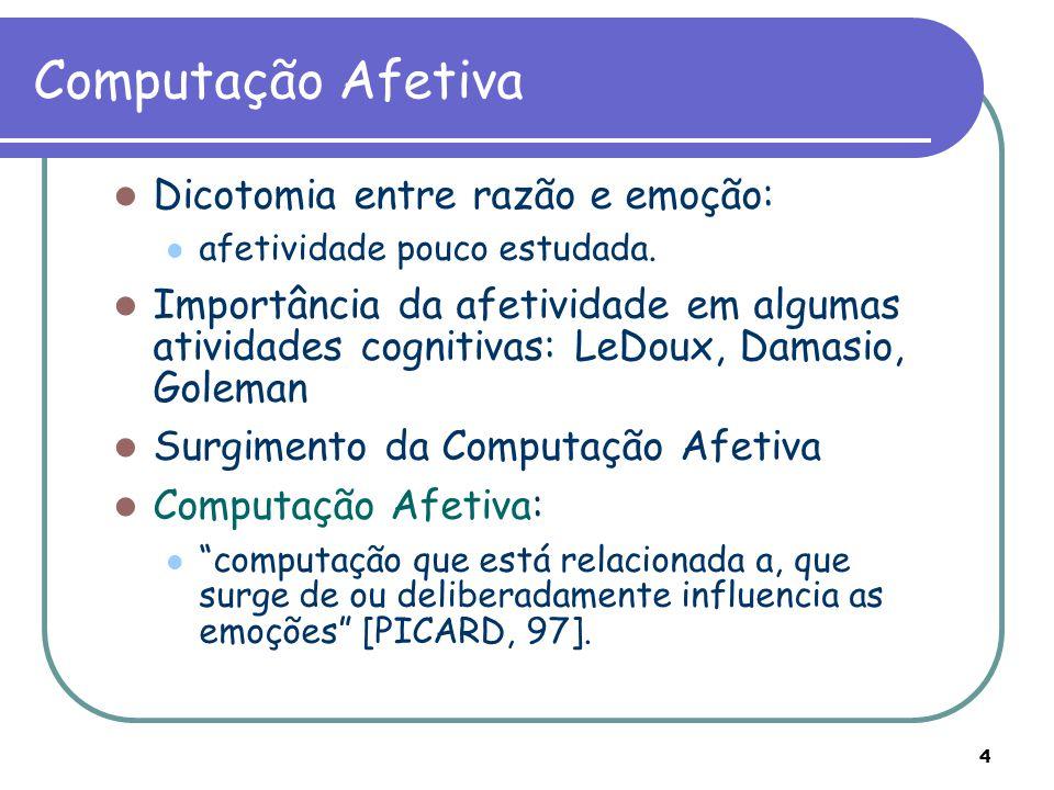 4 Dicotomia entre razão e emoção: afetividade pouco estudada. Importância da afetividade em algumas atividades cognitivas: LeDoux, Damasio, Goleman Su