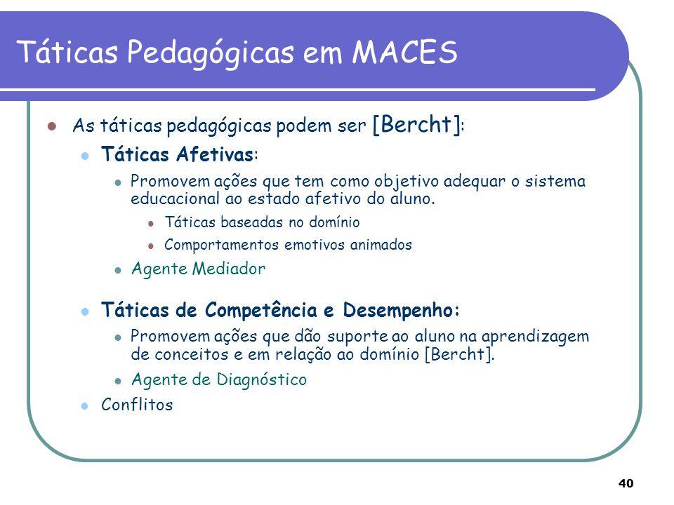 40 Táticas Pedagógicas em MACES As táticas pedagógicas podem ser [Bercht] : Táticas Afetivas: Promovem ações que tem como objetivo adequar o sistema e
