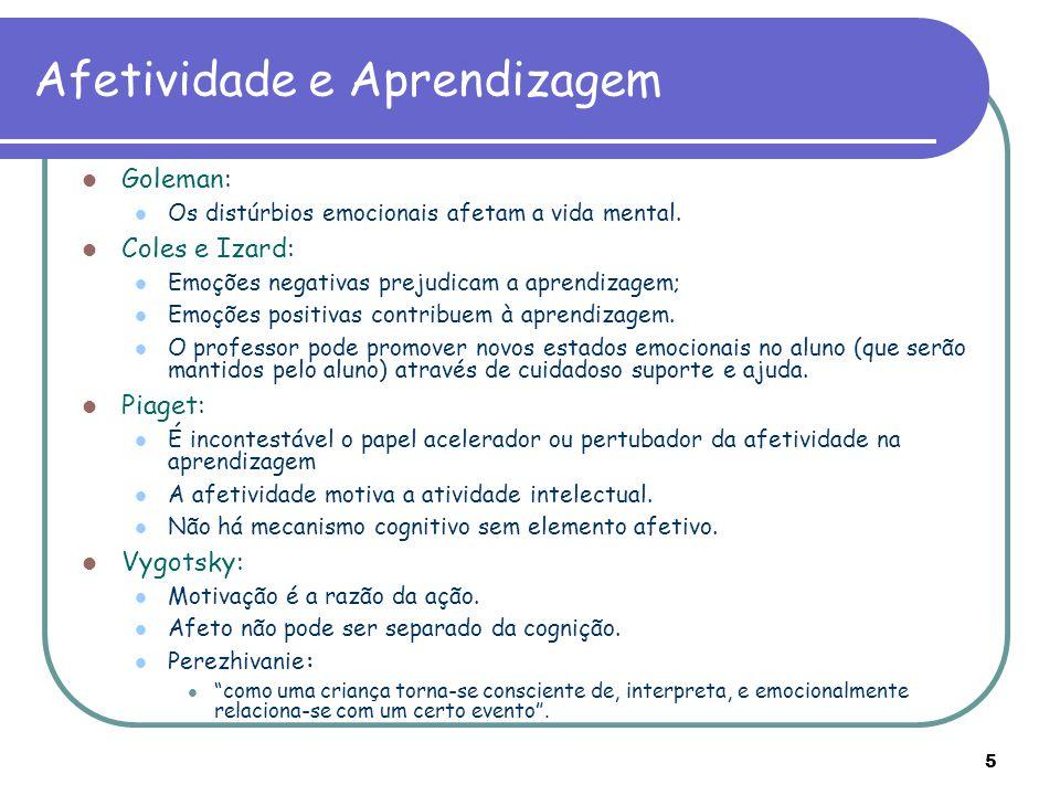 5 Afetividade e Aprendizagem Goleman: Os distúrbios emocionais afetam a vida mental. Coles e Izard: Emoções negativas prejudicam a aprendizagem; Emoçõ