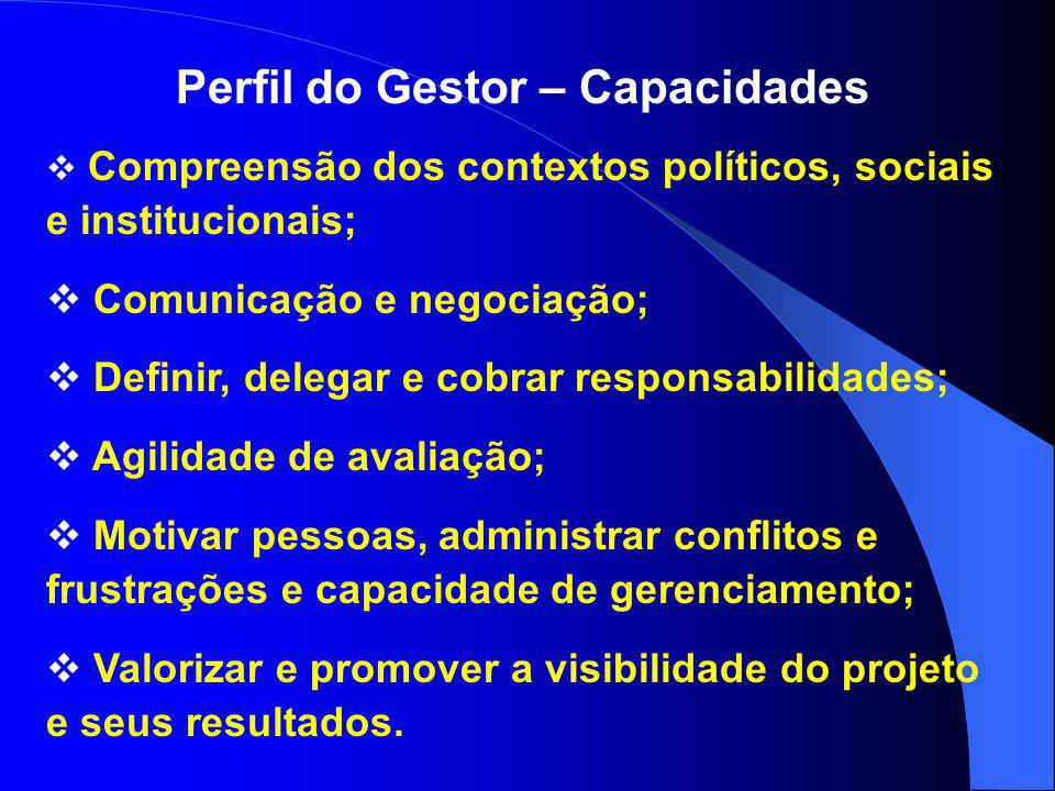 Perfil do Gestor – Capacidades  Compreensão dos contextos políticos, sociais e institucionais;  Comunicação e negociação;  Definir, delegar e cobra