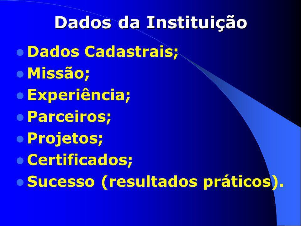 Dados da Instituição Dados Cadastrais; Missão; Experiência; Parceiros; Projetos; Certificados; Sucesso (resultados práticos).
