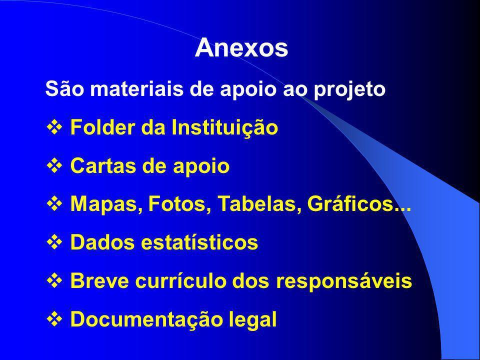 Anexos São materiais de apoio ao projeto  Folder da Instituição  Cartas de apoio  Mapas, Fotos, Tabelas, Gráficos...  Dados estatísticos  Breve c