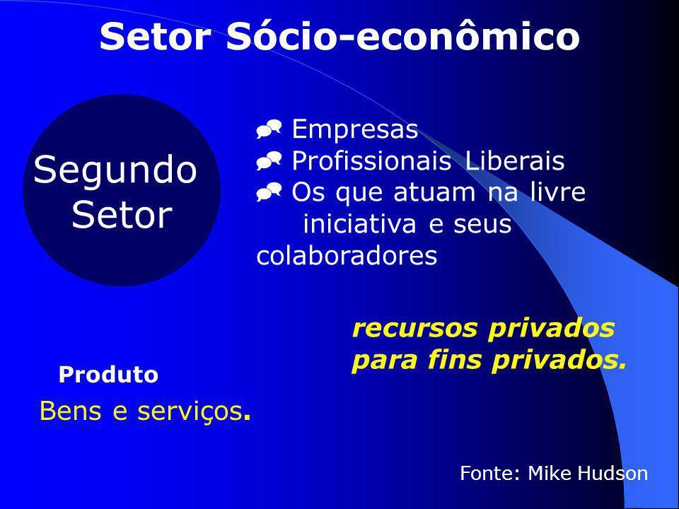 Segundo Setor  Empresas  Profissionais Liberais  Os que atuam na livre iniciativa e seus colaboradores Fonte: Mike Hudson  Bens e serviços. Produt
